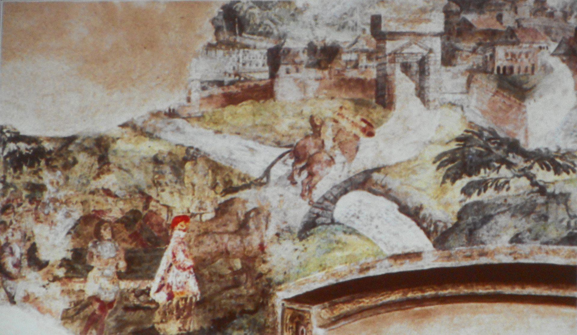 Amerigo Lantieri Paratico affresco Dante verso il castello di Paratico (Palazzo di Gorizia)